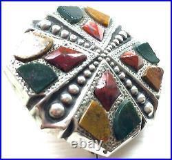 Antique Victorian Scottish Pebble Brooch c1890 Sterling Agate Bloodstone Jasper