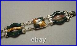 Antique Victorian Scottish Pebble Link Bracelet Agate Stone & Sterling Silver