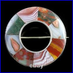 Antique Victorian Scottish Silver Agate Brooch Fell Asleep In Jesus Dated 1891