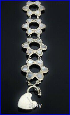 Antique Victorian Scottish Silver Agate Star Flower Link Bracelet Heart Lock