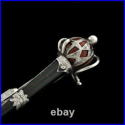 Antique Victorian Scottish Silver Sword Brooch / Pin Inlaid Blood stone Agates