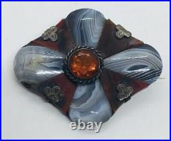 Antique Victorian Scottish Sterling Red & Gray Banded Agate & Citrine Pin