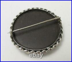 Antique Victorian Scottish Sterling Silver Aberdeen Granite Stone Brooch Pin