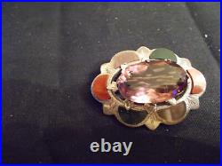 Antique Victorian Scottish Sterling Silver/Agate Brooch Pin With Amethyst Stone