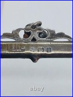 Antique Victorian Scottish Sterling Silver Agate Heart Dangle Pin
