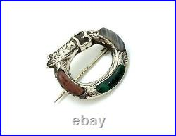 Antique Victorian Scottish Sterling Silver Agate Stone Etched Belt Buckle Brooch