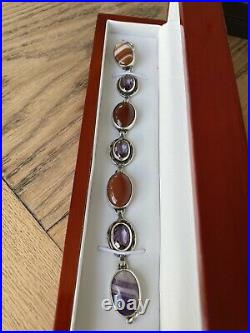 Antique Victorian Scottish Sterling Silver Amethyst And Agate Bracelet