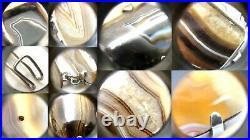 Antique Victorian Scottish Sterling Silver Banded Agate Link Bracelet