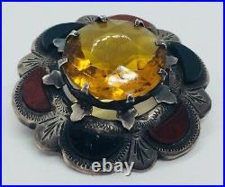 Antique Victorian Scottish Sterling Silver Bloodstone Agate Citrine Pin
