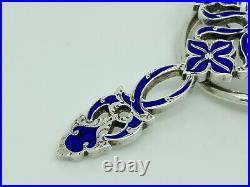 Antique Victorian Scottish Sterling Silver Blue Enamel Unusual Cross Brooch