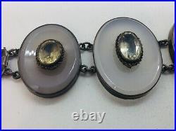Antique Victorian Scottish Sterling Silver Gray Agate Citrine Bracelet