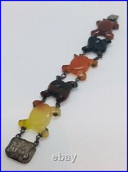 Antique Victorian Scottish Sterling Silver Gray Red Orange Black Agate Bracelet