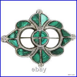 Antique Victorian Scottish Sterling Silver Malachite Brooch