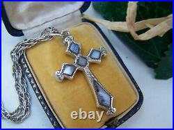 Antique Victorian Scottish Sterling Silver Montrose Agate Cross Pendant Necklace