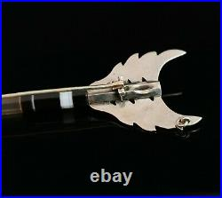 Antique Victorian Scottish agate arrow brooch, sterling silver