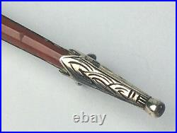 Antique Victorian Scottish agate, bloodstone & Sterling Silver sword brooch