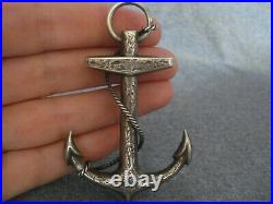 Antique Victorian Silver Tested Scottish Anchor Brooch