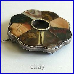 Antique Victorian Silver Tested Scottish Brooch Pin Agate Mixed Hardstone 5.2cm