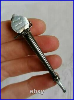 Antique Victorian Sterling Silver Agate Scottish Basket Sword Kilt Pin Brooch