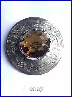 Antique Victorian Sterling Silver Citrine Scottish Cairngorm Brooch