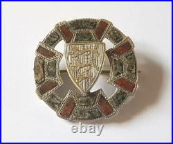 Antique Victorian Sterling Silver Scottish Agate Brooch Three Lions
