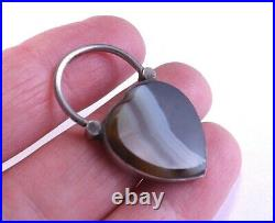 Antique Victorian Sterling Silver Scottish Agate Engraved Padlock FREE P&P