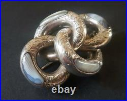 Antique Victorian Sterling Silver Scottish Agate Large Brooch