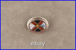 Antique Victorian Sterling Silver Scottish Agate St Andrews Cross Saltire Brooch