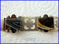 Antique Victorian Sterling Silver Scottish Banded Agate Belt & Buckle Bracelet