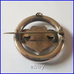 Antique Victorian Sterling Silver Scottish Malachite Agate Brooch