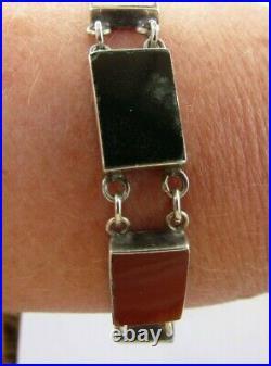 Antique/Vintage Scottish Carnelian Agate Sterling Silver 925 Bracelet Mark