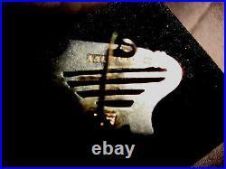 Antq A&LLd Scottish Jasper Bloodstone Agate Harp Sterling Silver Pin Date 1898
