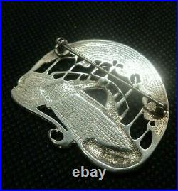 Attractive LARGE Scottish Sterling Silver Enamel Brooch c. 1980s Pat Cheney