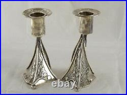 CONTEMPORARY SCOTTISH SOLID STERLING SILVER CANDLESTICKS 2002 340 g