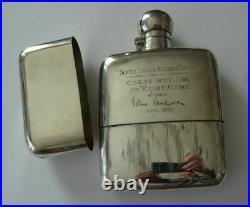 ENGLISH STERLING SILVER PRESENTATION TROPHY HIP FLASK, DIXON SHEFFIELD c1925