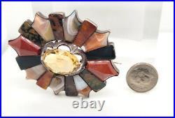 Estate $700 Silver Victorian Citrine & Agate Scottish Brooch