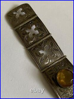 Fine Victorian Sterling Silver & Citrine Scottish Engraved Belt Buckle Bracelet