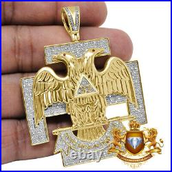 Genuine Diamond 32 Degree Scottish Rite Masonic Freemason Pendent Charm XL 2.5'