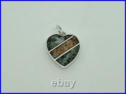 Gorgeous Rare Antique 1913 Sterling Silver Scottish Granite Heart Charm/Pendant