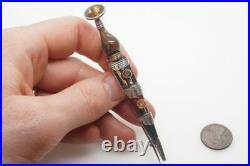 LARGE ANTIQUE SCOTTISH SILVER AGATE & CAIRNGORM DIRK / DAGGER KILT PIN c1890