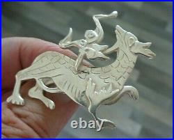 LARGE Scottish Silver Orkney Brooch Ola Gorie h/m 1965 Edinburgh MEASHOWE DRAGON