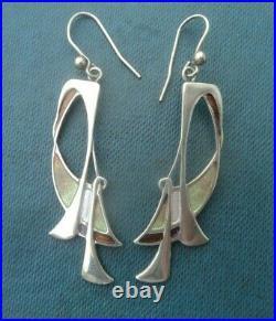LARGE Sterling Silver & Enamel Scottish Art Nouveau Earrings Pat Cheney 1980s