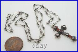 LOVELY ANTIQUE SCOTTISH SILVER AGATE CRYSTAL CROSS PENDANT / CHARM c1890
