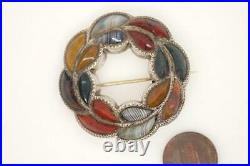LOVELY ANTIQUE VICTORIAN SCOTTISH SILVER CARVED AGATE ANNULAR BROOCH c1870