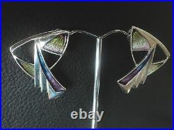 Large Scottish Art Nouveau Style Silver & Enamel Earrings Pat Cheney c. 1980s