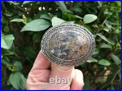 Large Vintage Scottish Ortak Sterling Silver Agate Brooch Malcolm Grey 1978