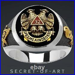 Masonic Ring Freemason Scottish Rite AASR 32nd Mason 925 Silver 24K-Gold-plated