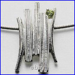 New Ola Gorie Silver Woodwick Necklet Wire Green Peridot Boxed Scottish