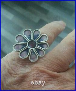 Norman Grant Scottish Stg Silver Enamel Floral Ring h/m 1971 Edinburgh size M/N