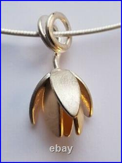 Ola Gorie Mixed Metal Clova Pendant Silver & 9ct Yellow Gold Chain Scottish